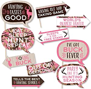 Funny Pink Gone Hunting - Deer Hunting Girl Camo Baby Shower or Birthday Party Photo Booth Props Kit - 10 Piece