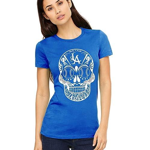 6a3b75c9 Amazon.com: Dodger Blue Sugar Skull shirt, Dia De Los Muertos Day of The  Dead Skull Tee Shirt: Handmade