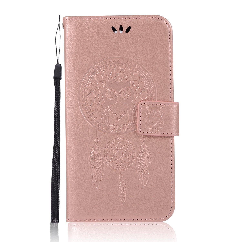 LG K10 Case, Daker LG LV5 Embossed PU Leather Wallet Purse Credit Card ID Holders Design Flip Folio TPU Soft Bumper Clear Ultra Slim Fit Cover for LG K10 2017 (Rose Gold)