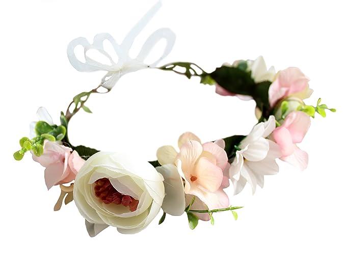 Vivivalue Adjustable Flower Headband Women Floral Crown Hair Wreath Flower  Headpiece Halo Boho with Ribbon Wedding 39aa4e172f8