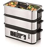 WMF Kitchenminis - Vaporera 900 W, 2 Zonas de Cocción y Función de Mantenimiento de la Calor, Acabados de Acero Inoxidable de Cromargan, Capadidad de hasta 4.3L y Depósito de Agua de 1.1L
