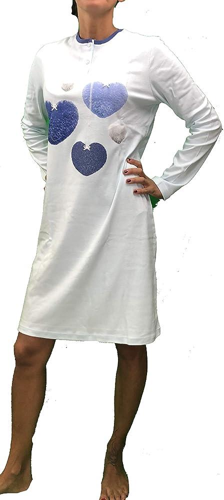 BISBIGLI Camisa de noche cálida algodón corazones azul claro 42: Amazon.es: Ropa y accesorios