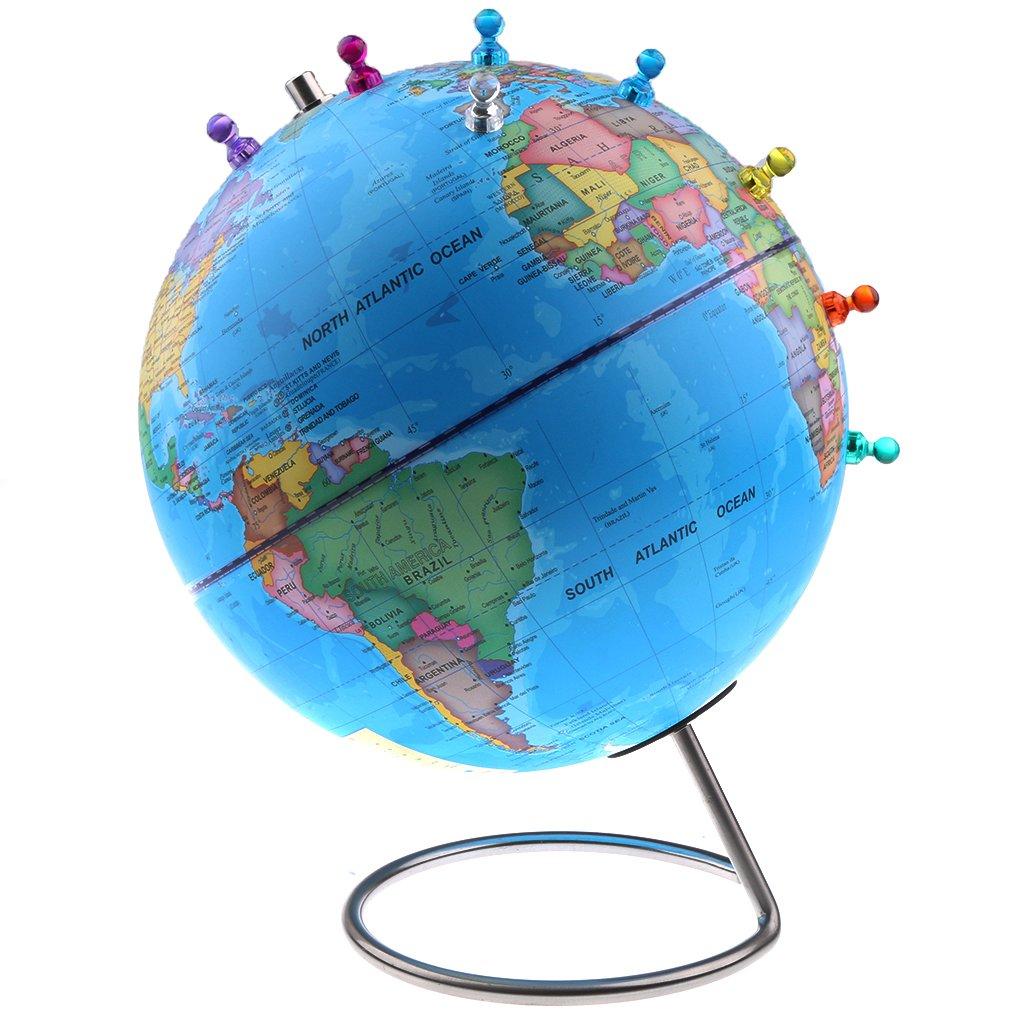 Homyl Magnetische Schülerglobus Weltkarte Globus mit 30 Magnetpins, Desktop Dekoration, Kinder Lernspielzeug - Blau