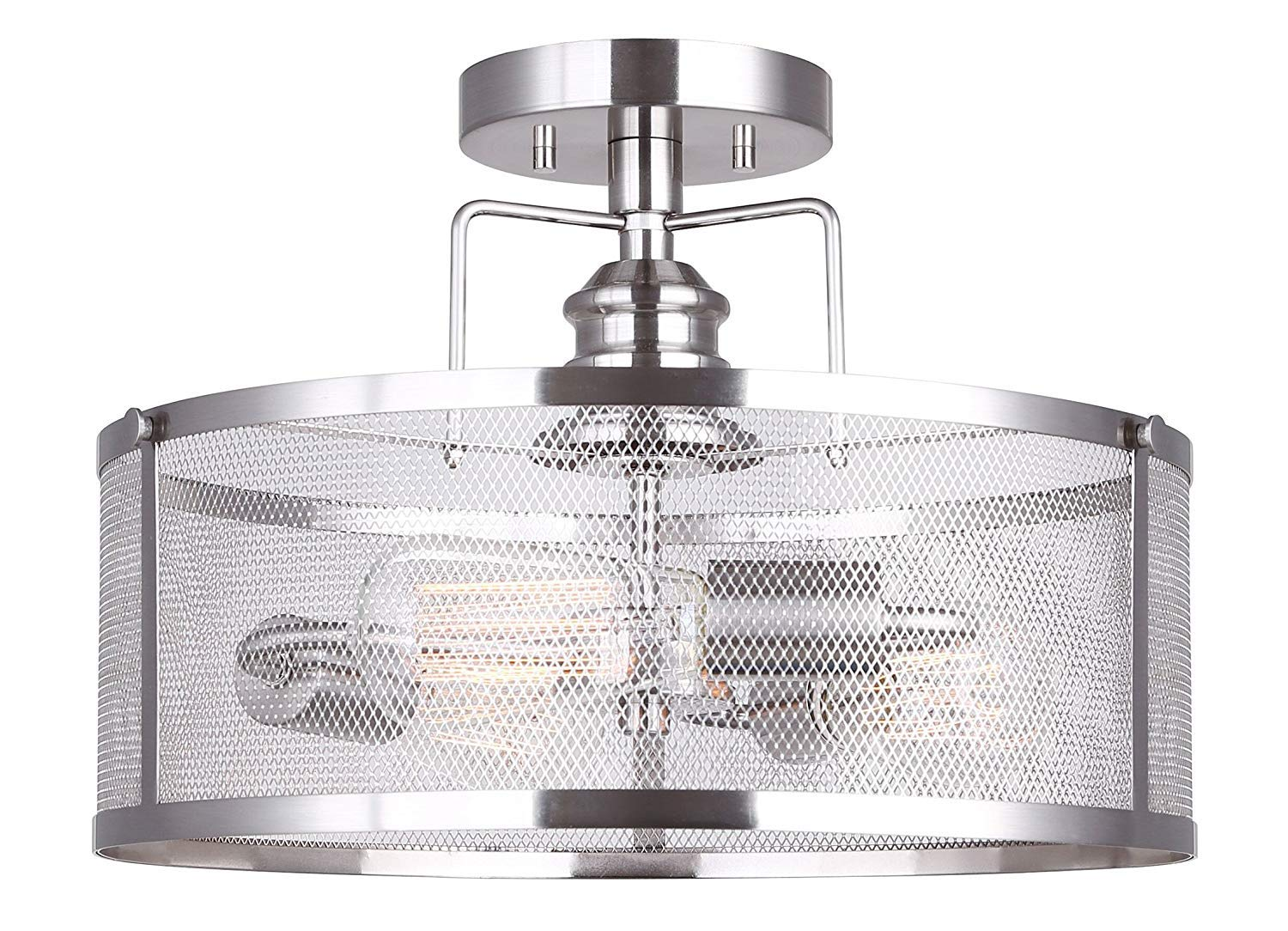 Dysmio Lighting One-Light Adjustable Mini Pendant with Perforated Cylindrical Metal Shade, Brushed Nickel Finish
