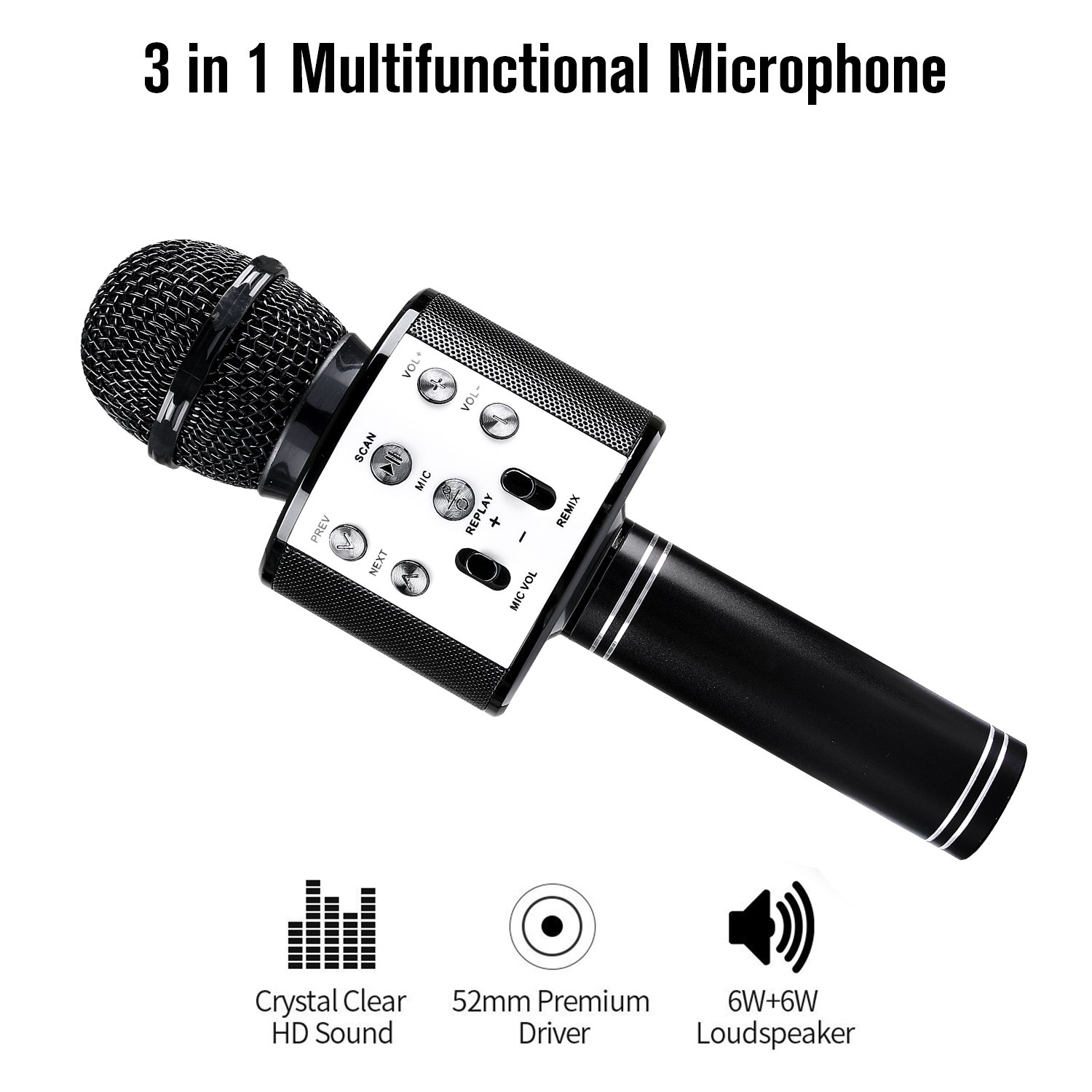 Wireless Bluetooth Karaoke Microphone, Portable Handheld Mic Built-in Speaker With Multi-function Professional Classic-style Karaoke Player for iPhone/Android/Smartphone, Home Party KTV, etc. (Black)