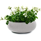 "Keter Cozies Large Plastic Knit Texture 21"" Planter Bowl with Removable Liner, Oasis White"