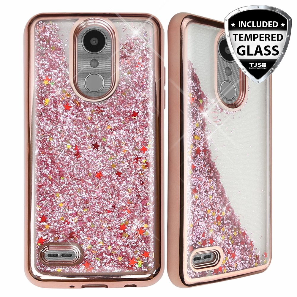 TJS Case for LG Aristo 2/Aristo 2 Plus/Aristo 3/Aristo 3 Plus/Tribute Dynasty/Tribute Empire/Fortune 2/Rebel 3 LTE [Full Coverage Tempered Glass Screen Protector] Glitter Chrome Phone Cover (RoseGold)