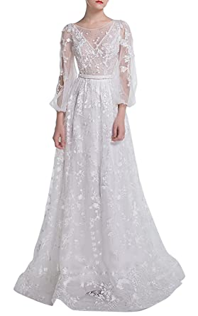 Ethel Womens White Floral Embroidery Long Sleeves Wedding Dresses Prom Gown