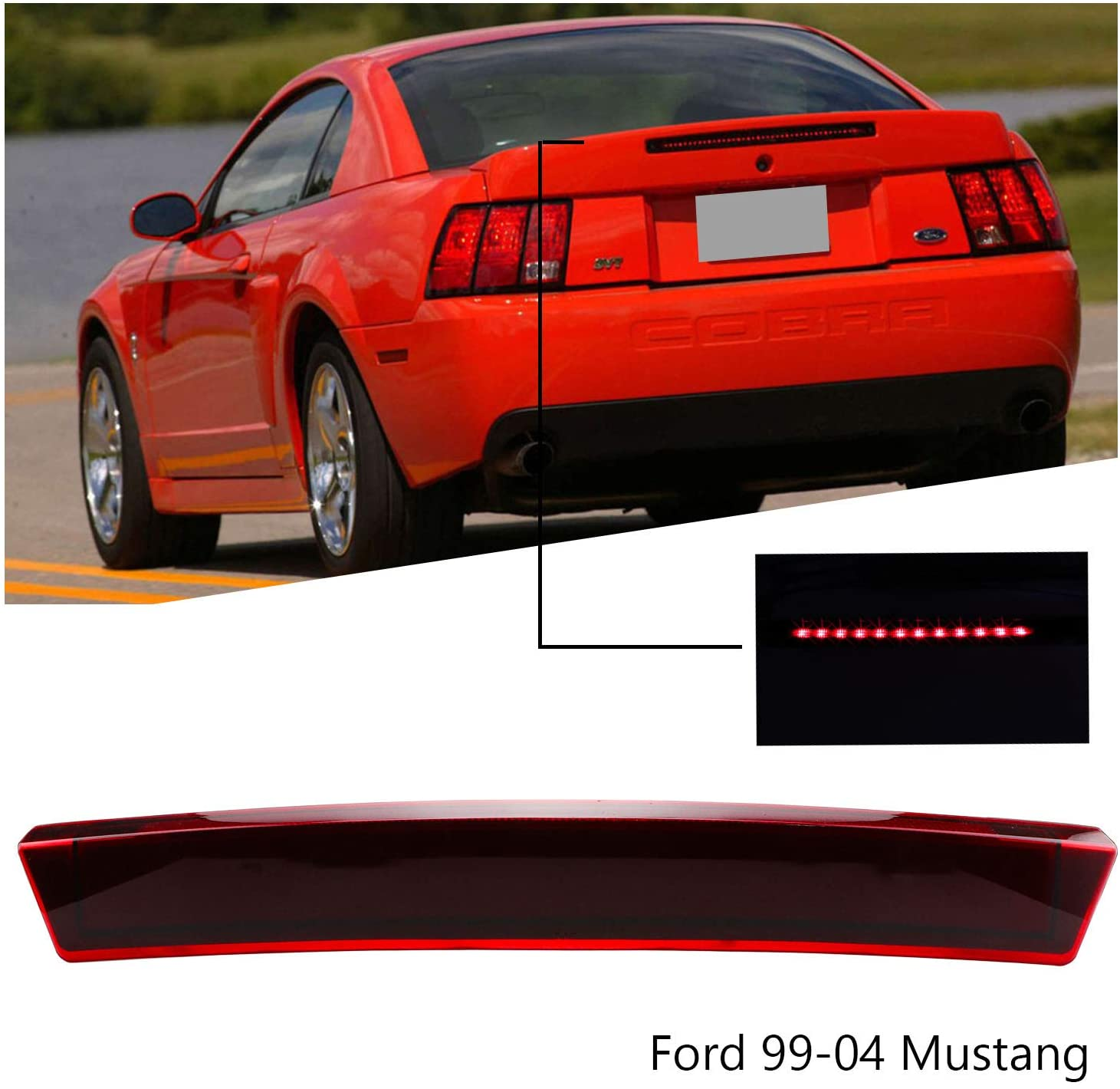 Smoke Center Hight Mount Stop Light Third 3rd Brake LED Lights Lamp Replacement for Ford 1999-2004 Mustang Cargo Lights Reverse Brake Lights