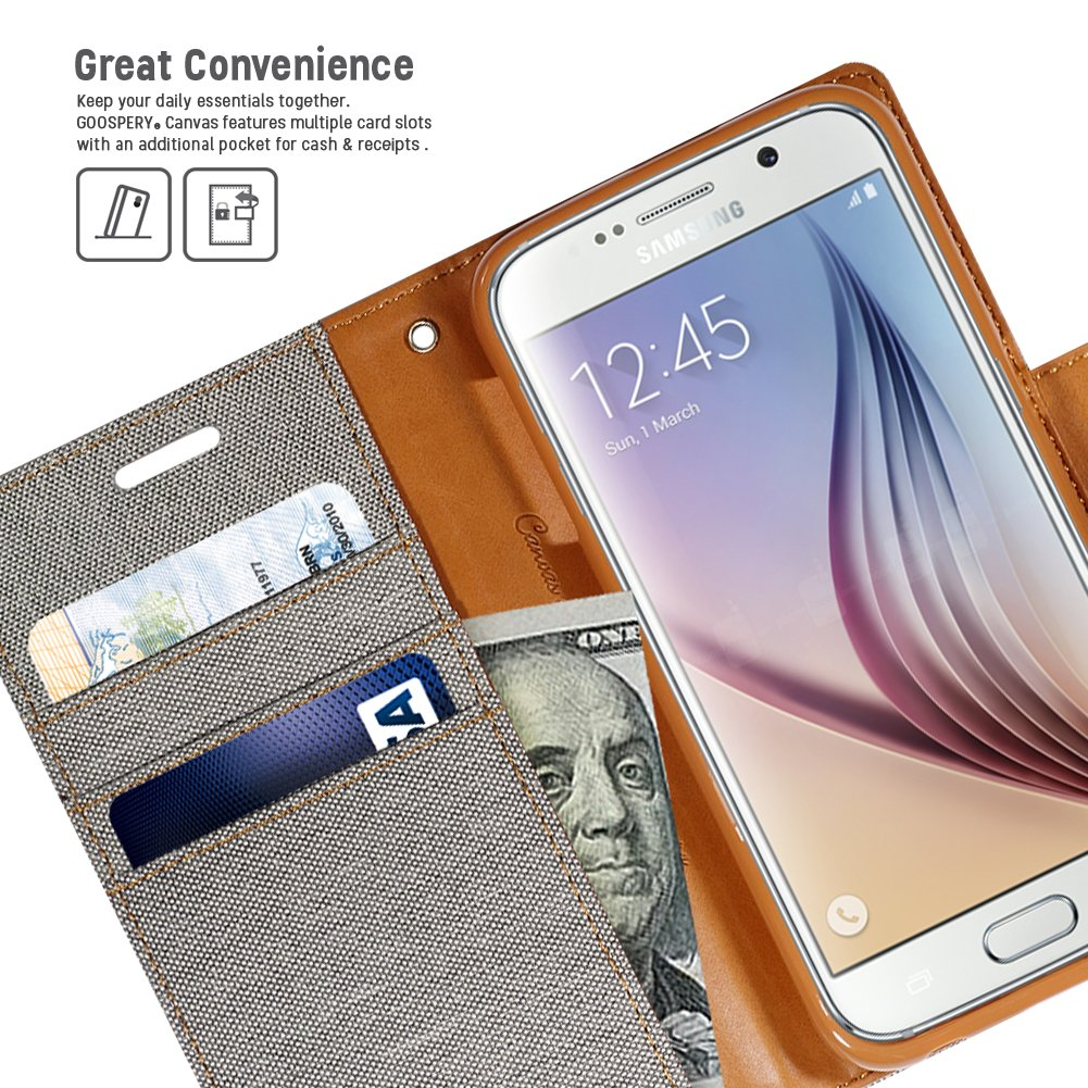 Galaxy S6 Case Drop Protection Goospery Canvas Diary Iphone 8 Fancy Navy Lime Denim Material Wallet Id Credit Card And Cash Slots With Stand Flip Cover For
