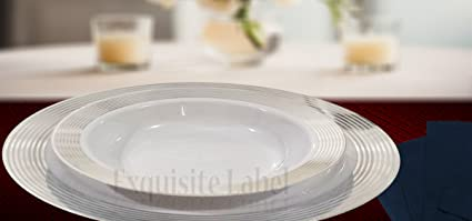 Exquisite Label White with Silver Premium Heavyweight Plastic Elegant Disposable Plates Wedding Party Elegant Dinnerware Striped & Exquisite Label White with Silver Premium Heavyweight Plastic Elegant Disposable Plates Wedding Party Elegant Dinnerware Striped Collection (40 ...