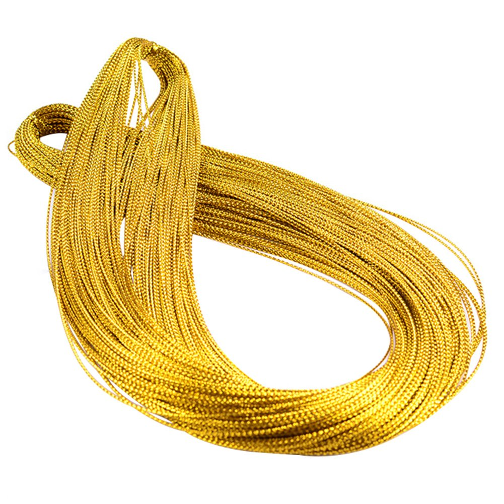 jingyuu 1mm*100m Gift String Rope Ribbon Wrap Jute Twine Sturdy Durable for Christmas Decor/Tag/Wedding Decor/DIY /Gift Wrapping/Arts Crafts/Garden Gold