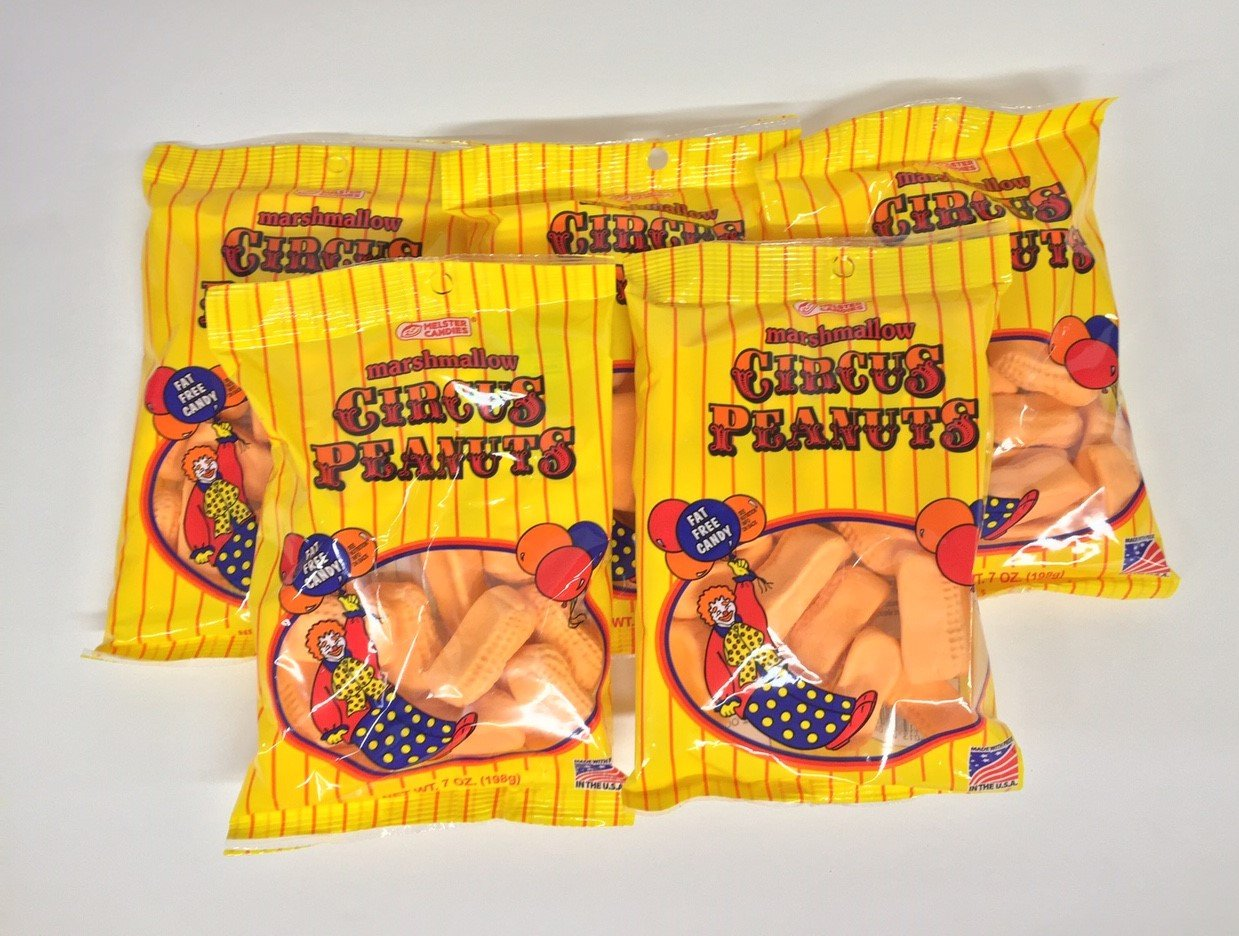Melster Circus Peanuts Marshmallow Candy 5 Bags of 7 Oz Each.
