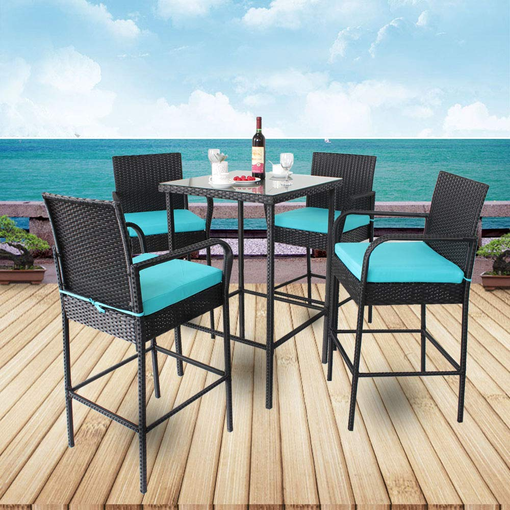 Leaptime Patio Bar Set 5pcs Black Rattan 1 Bar Table and 4 Stools Set Party Furniture Outdoor Garden Wicker Bar Set Easy Assembly Turquoise Cushion