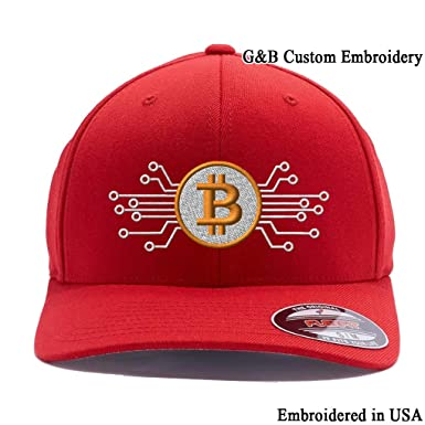 477acc32852 Bitcoin Hat. Bitcoin Digital Currency. Embroidered. 6477 Flexfit Baseball  Cap. Custom Hat - Red -  Amazon.co.uk  Clothing