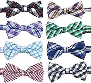 PET SHOW Plaid Dog Bow Ties Adjustable Collar Bowties for Small Dogs Puppy Cats Party Pet Collar Neckties Grooming Accessories Pack of 8