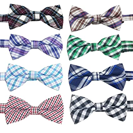 e81ae9e6e7af PET SHOW Plaid Dog Bow Ties Adjustable Collar Bowties for Small Dogs Puppy  Cats Party Pet