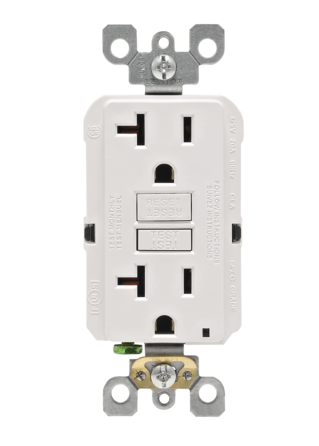 Leviton N7899 W 20 Amp 125 Volt Smartlock Pro Slim Non Tamper Gfci Wiring Multiple Outlets Diagram Furthermore Outlet Resistant Duplex Receptacle White Ground Fault Circuit Interrupter Amazon