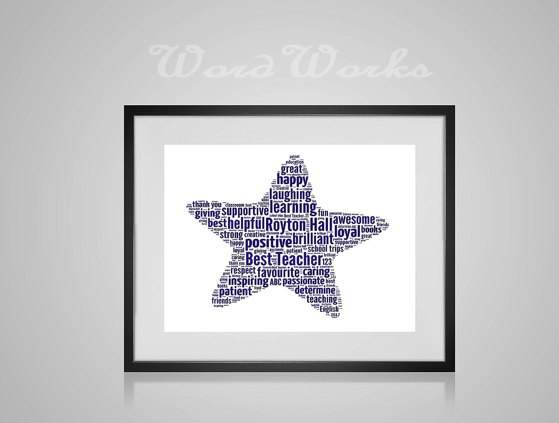 Personalised Best Teacher Star Word Art Print Unique Keepsake Gifts