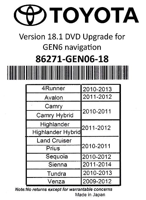 2019 Toyota Navigation DVD Gen 6 U9A 18 1 Map GPS Update