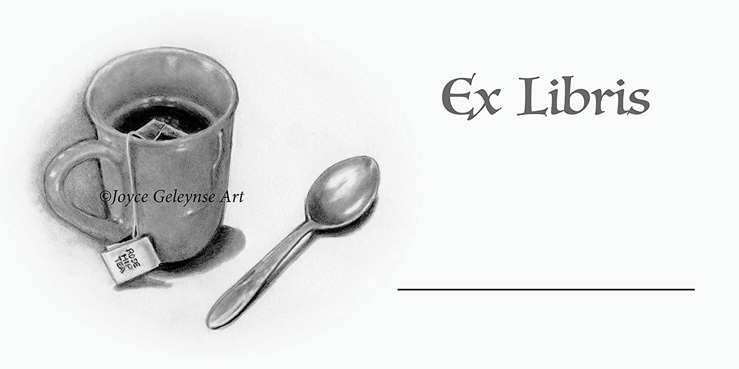 Amazon com book stickers bookplateex libris pencil drawing of mug with tea spoon add your name with free bookmark handmade