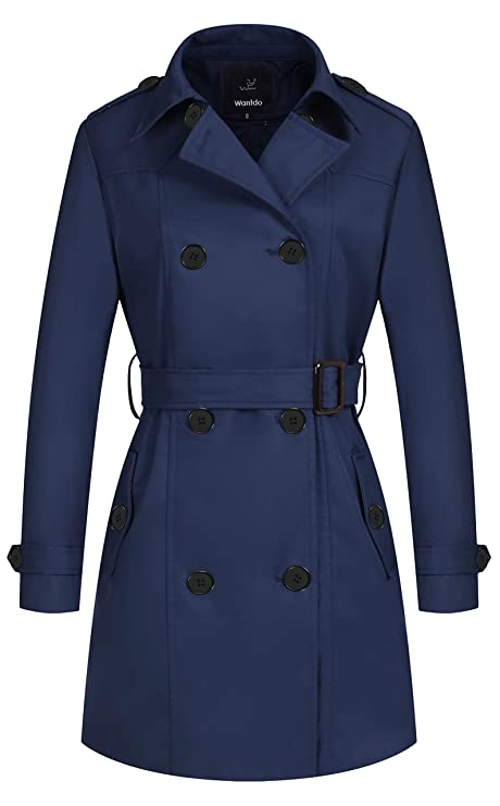 Wantdo Women's Double-Breasted Long Trench Coat with Belt Navy X-Large best women's raincoats