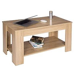 WOLTU TS48hei Tavolino da caffè Basso Rettangolare 2 Ripiani Tavolo da Salotto Moderno per Camera Cucina in Legno Rovere