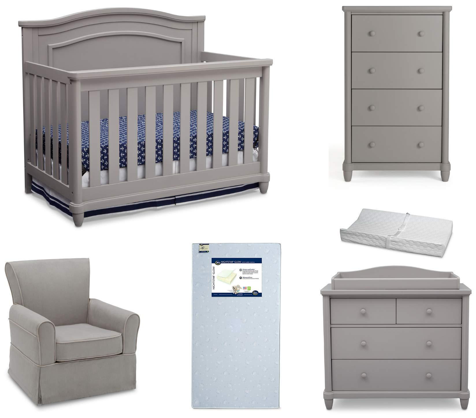 Simmons Kids Belmont 6-Piece Nursery Furniture Set | Includes: Convertible Baby Crib | Dresser with Changing Topper | Tall Chest | Glider | Crib Mattress | Changing Pad, Grey by Delta Children