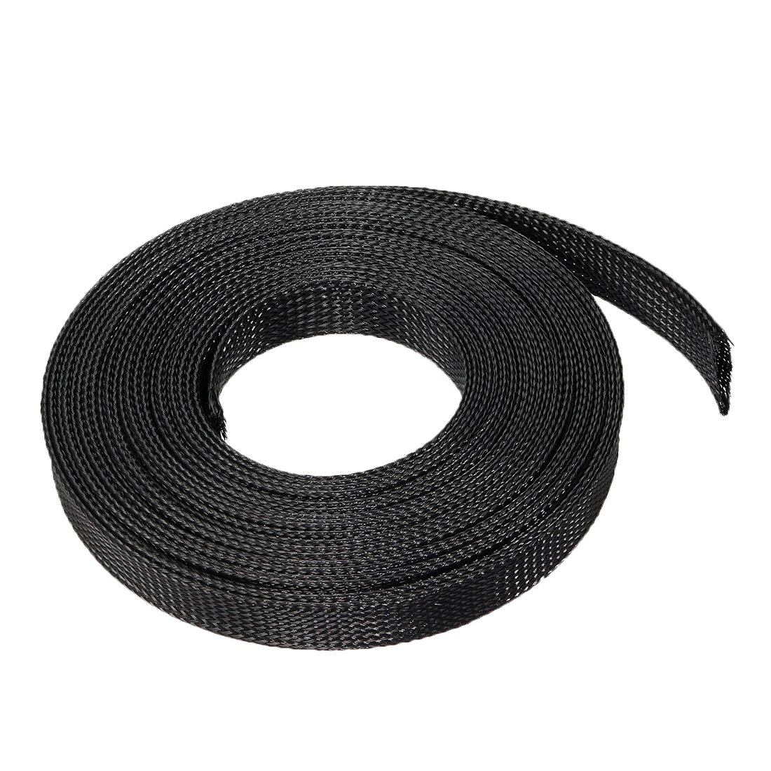 sourcing map 10m PET Expandable Braided Sleeving 32.8ft 18mm Dia Cable Management Sleeve Cord Organizer for Wrap Protect Cables Black