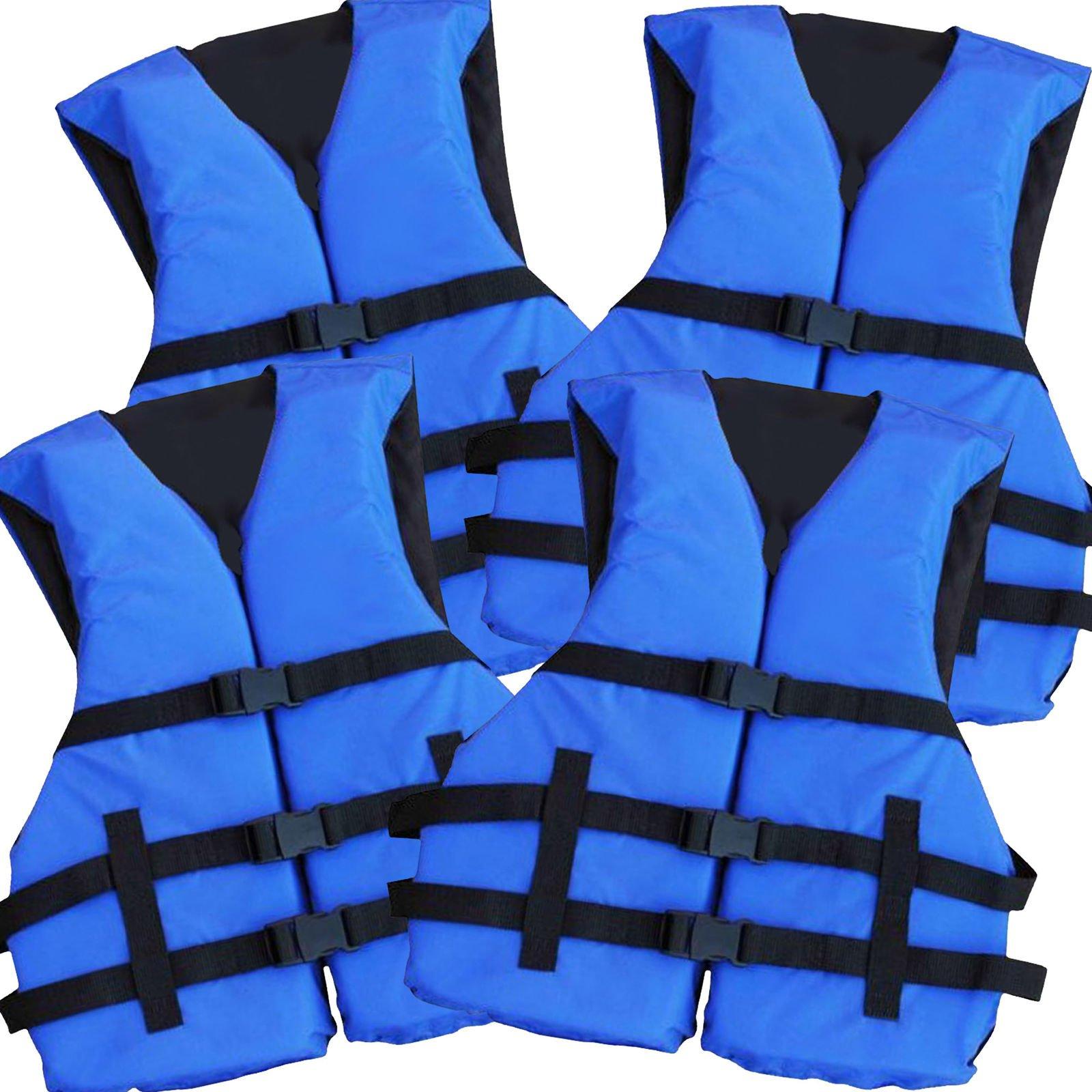 Hardcore Water Sports 4 Pack Coast Guard Approved Life Jacket (Blue) by Hardcore Water Sports