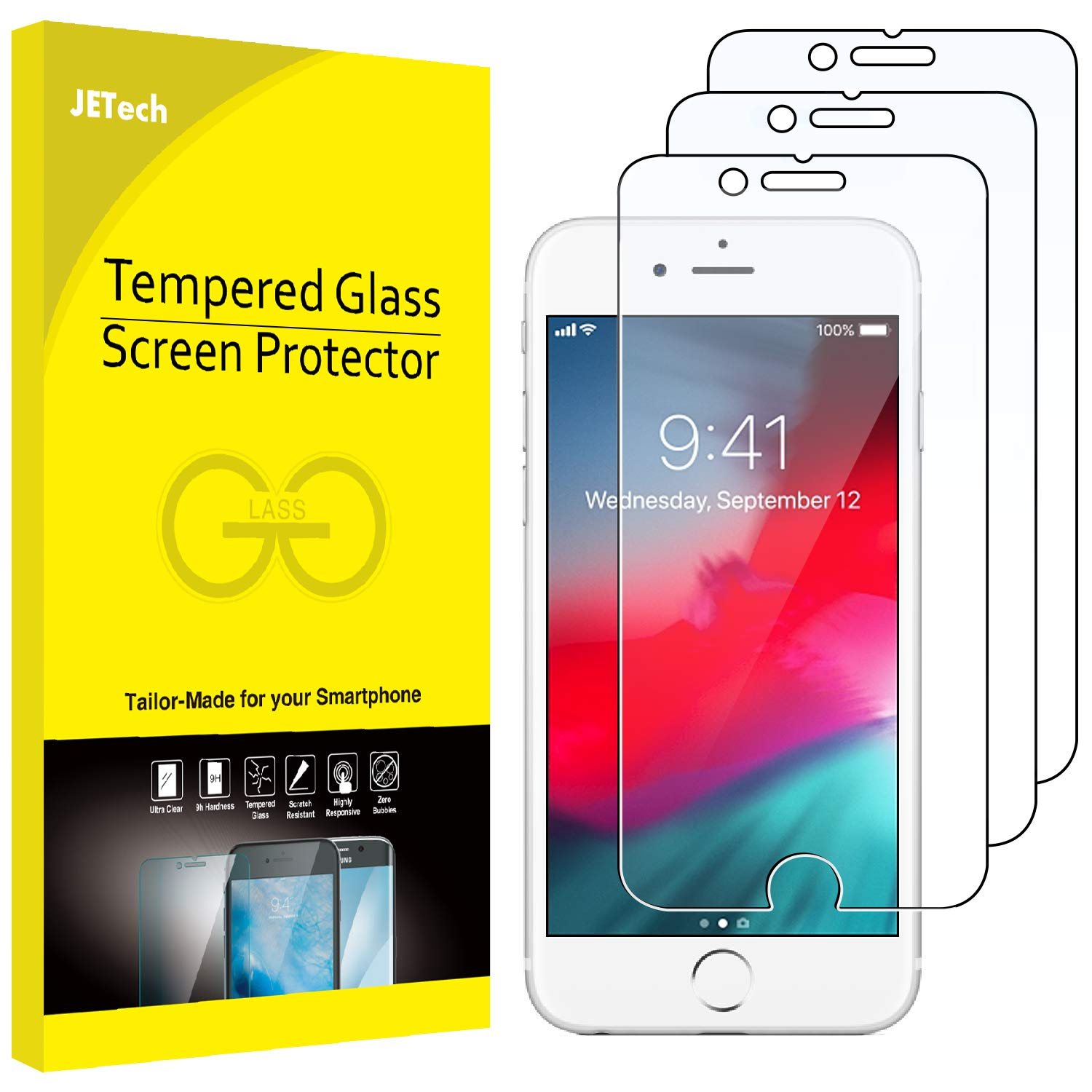 JETech 3-Pack Screen Protector for iPhone 8, iPhone 7, iPhone 6s, and iPhone 6, Tempered Glass Film, 4.7-Inch J0806