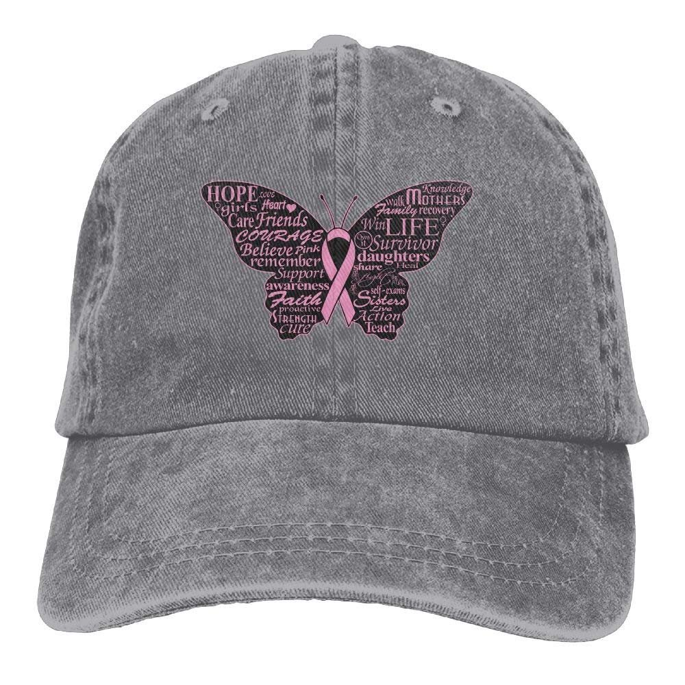 Fisbexy Men Women Pink Ribbon Butterfly- Breast Cancer Vintage Jeans  Baseball Cap at Amazon Men s Clothing store  4ed8bb19a