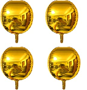 Linzze 4pcs 4D Balloons 22 Inch Large Round Sphere Shaped Aluminum Foil Balloon Birthday Wedding Prom Baby Shower Festival Christmas Decoration Party Supplies (Gold)