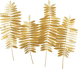 "Lechesis Gold Metal Leaf Wall Art Decor, Large Palm Fern Leaves Wall Plaque Sculptures Hanging for Living Room Bedroom, 28"" x 24"""