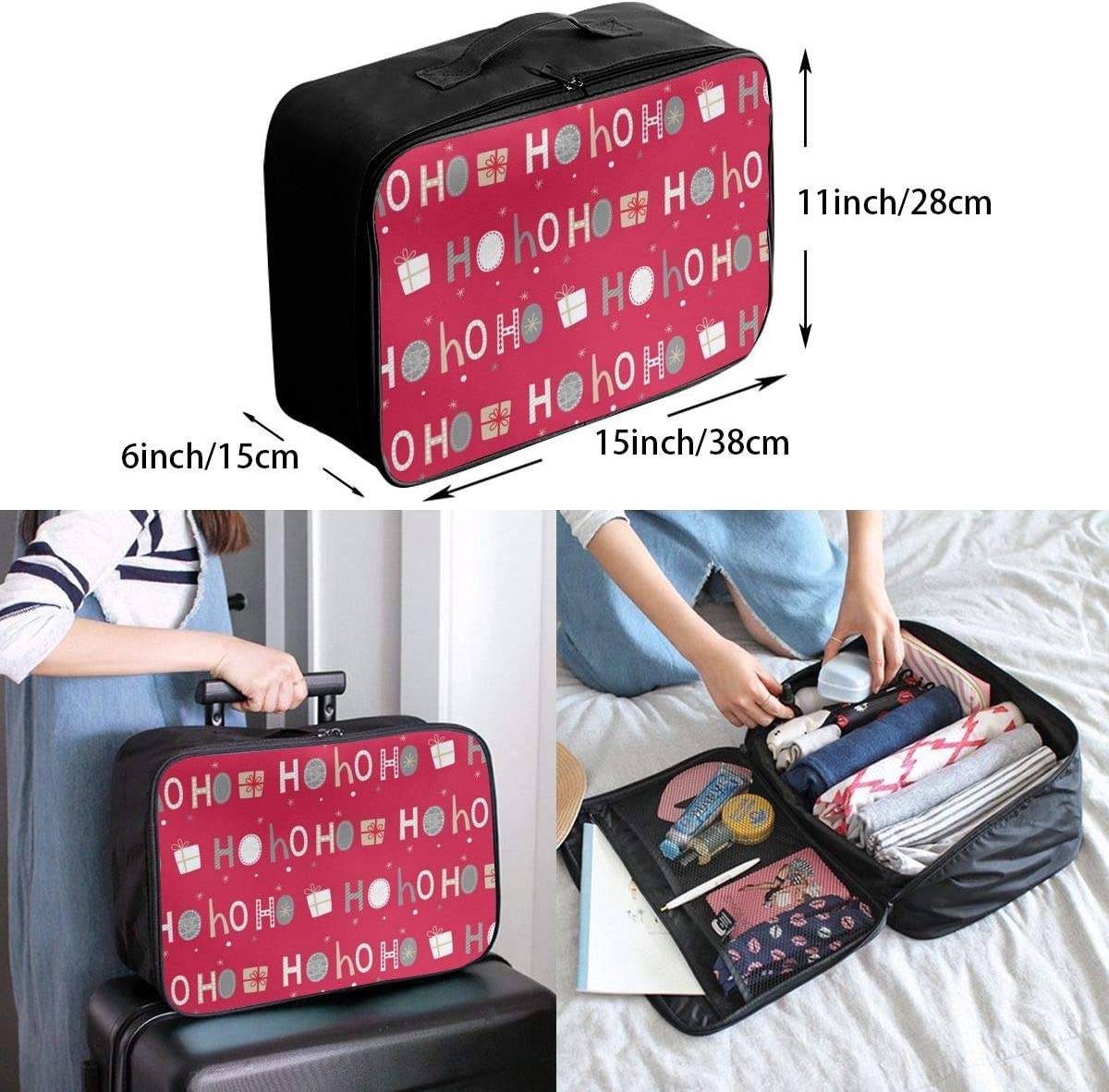 Ho-ho-ho Letter Christmas Gift Lightweight LargeTravel Storage Luggage Trolley Bag Travel Duffel Bags Carry-On Tote