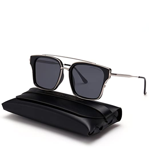 1625a7e595 DRAGON CHARM Unisex Classic 80 s Polarized Sunglasses Gradient Square Frame  Grey Lens Black PC Frame with