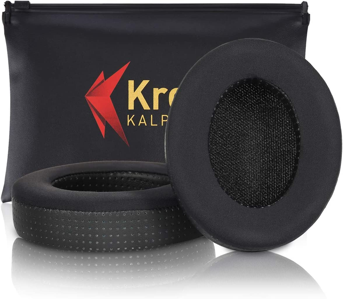 Krone Kalpasmos Upgrade Cooling Gel Ear Pads for Beats Studio 3 Wireless & Studio 2 Wired/Wireless, Ice Silk Lycra Cloth Perforated Protein Leather Memory Foam Cushions PU Bag - Black