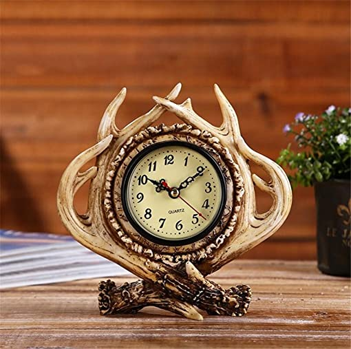 ELEGENCE-Z Alarm Clock American Retro Exquisite Personality Antlers Creative Do Old Home Bar Caf Practical Decorative Gifts Christmas