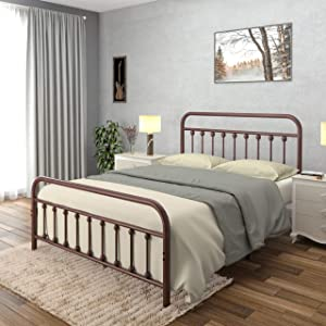 AMBEE21 Vintage Queen Metal Bed Frame with Headboard and Footboard Platform/Wrought Iron/Heavy Duty/Solid Sturdy Metal Slat/Rustic Brown/No Box Spring Needed/Industrial & Farmhouse