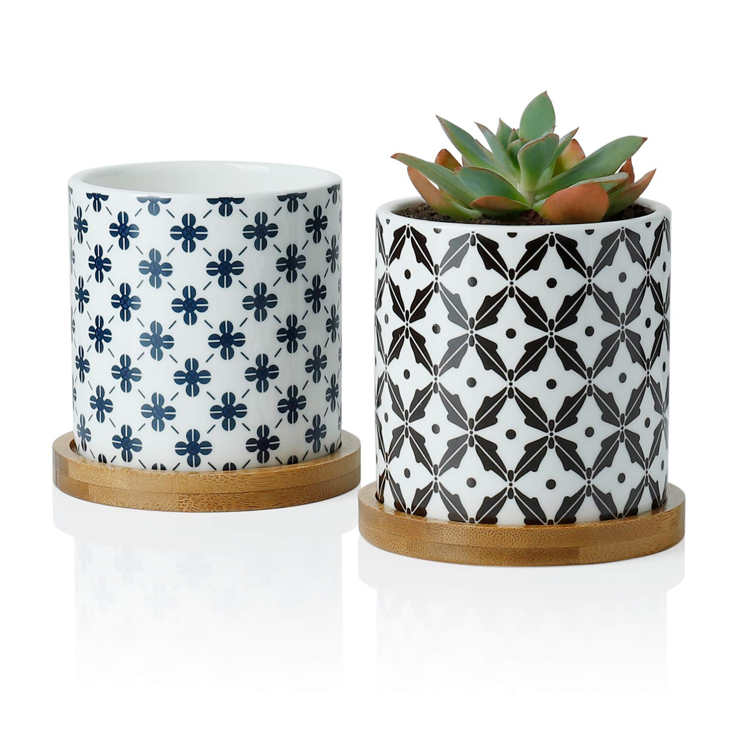 Greenaholics Succulent Plant Pots – 3 Inch Cylindrical Ceramic Planter for Cactus, Succulent Planting, with Drainage Hole, Bamboo Trays, Set of 2, Japanese Pattern, Navy Blue Black