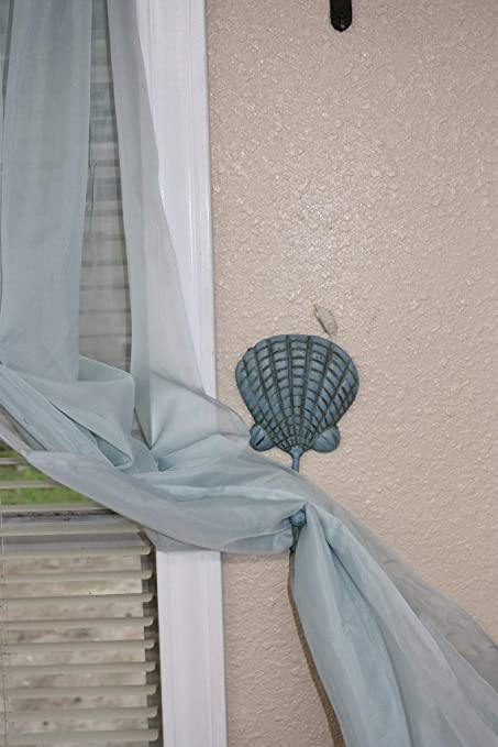 7 inches tall Shipping Included N-49a Beach House Curtain Tiebacks Cast Iron Seashell Design
