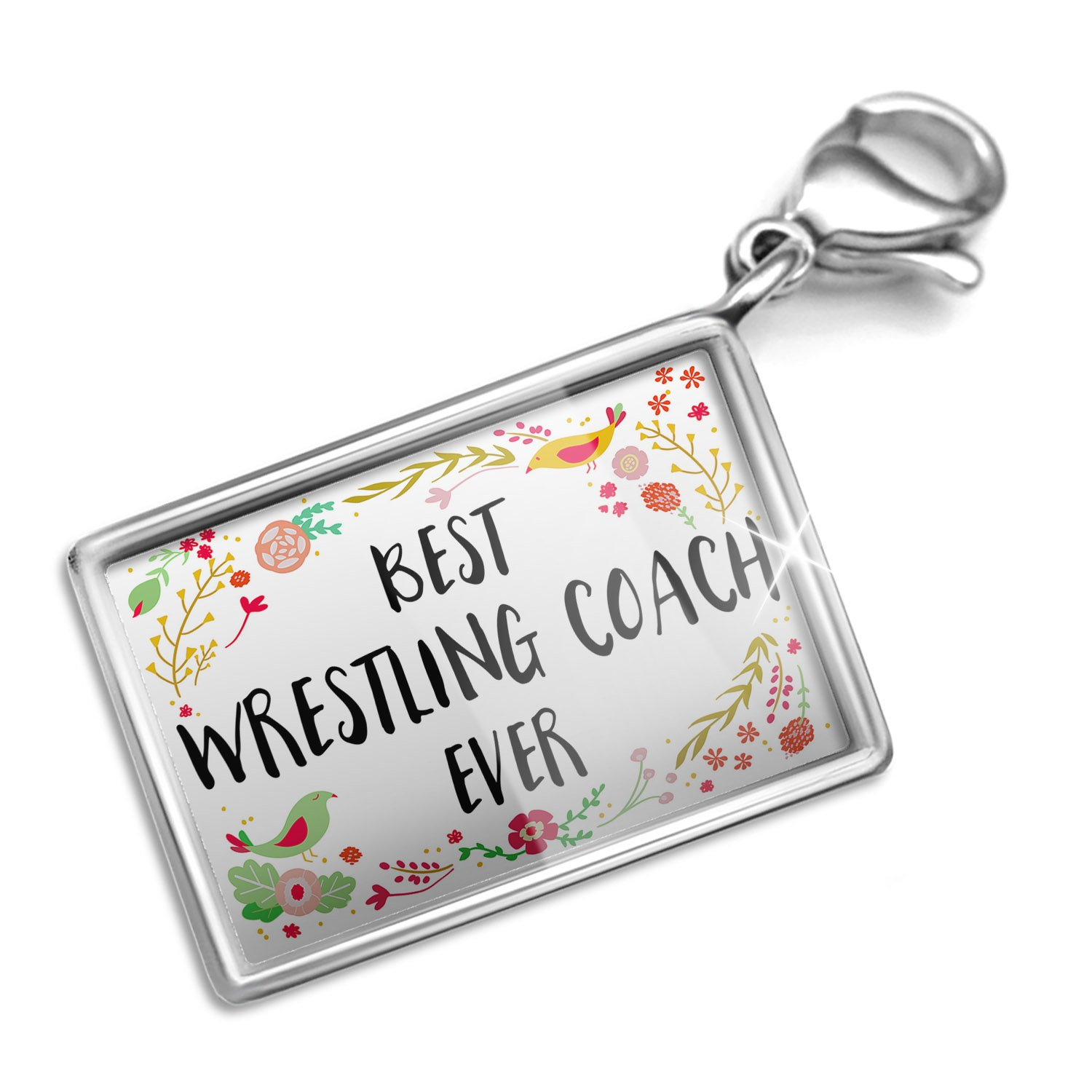 Clip on Charm & Bracelet Set Happy Floral Border Wrestling Coach Lobster Clasp by NEONBLOND