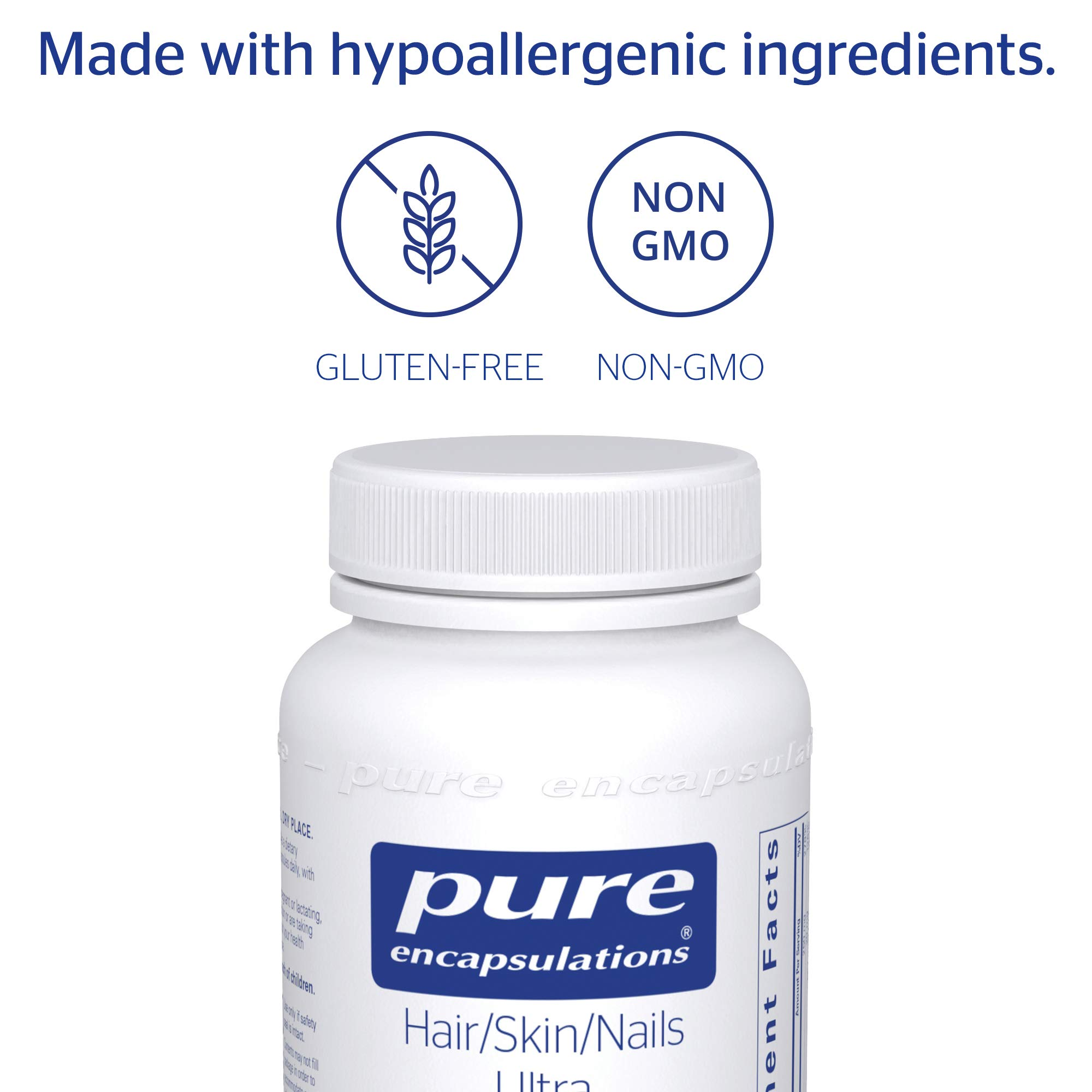 Pure Encapsulations - Hair/Skin/Nails Ultra - Hypoallergenic Supplement Supports Skin Elasticity, Hydration, Hair, and Nails* - 60 Capsules by Pure Encapsulations (Image #4)