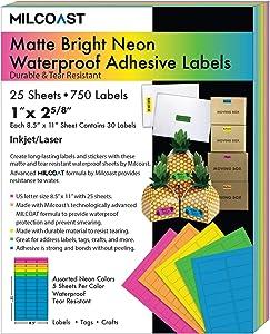 Milcoast Bright Neon Matte Waterproof Tear Resistant Address Labels - 1