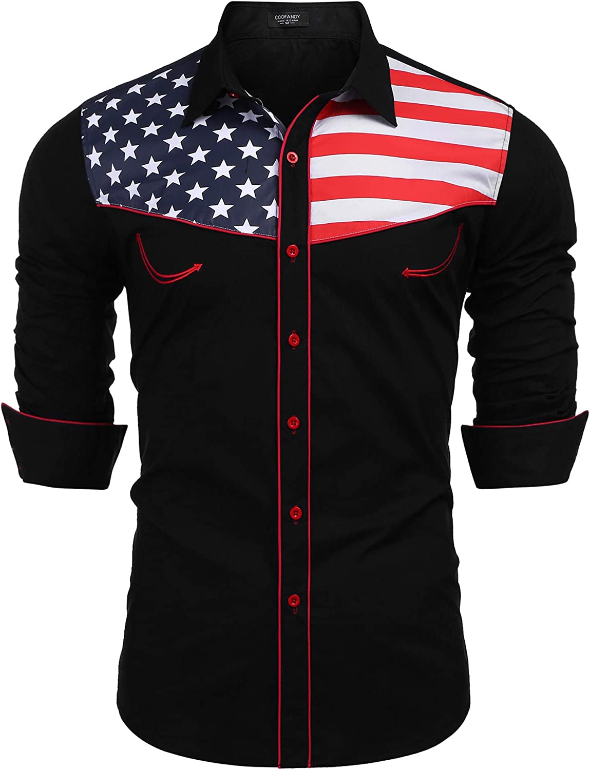 Flagshirt Mens Half Stars Half Stripes American Flag Shirt Button-Up White /& Blue, Red