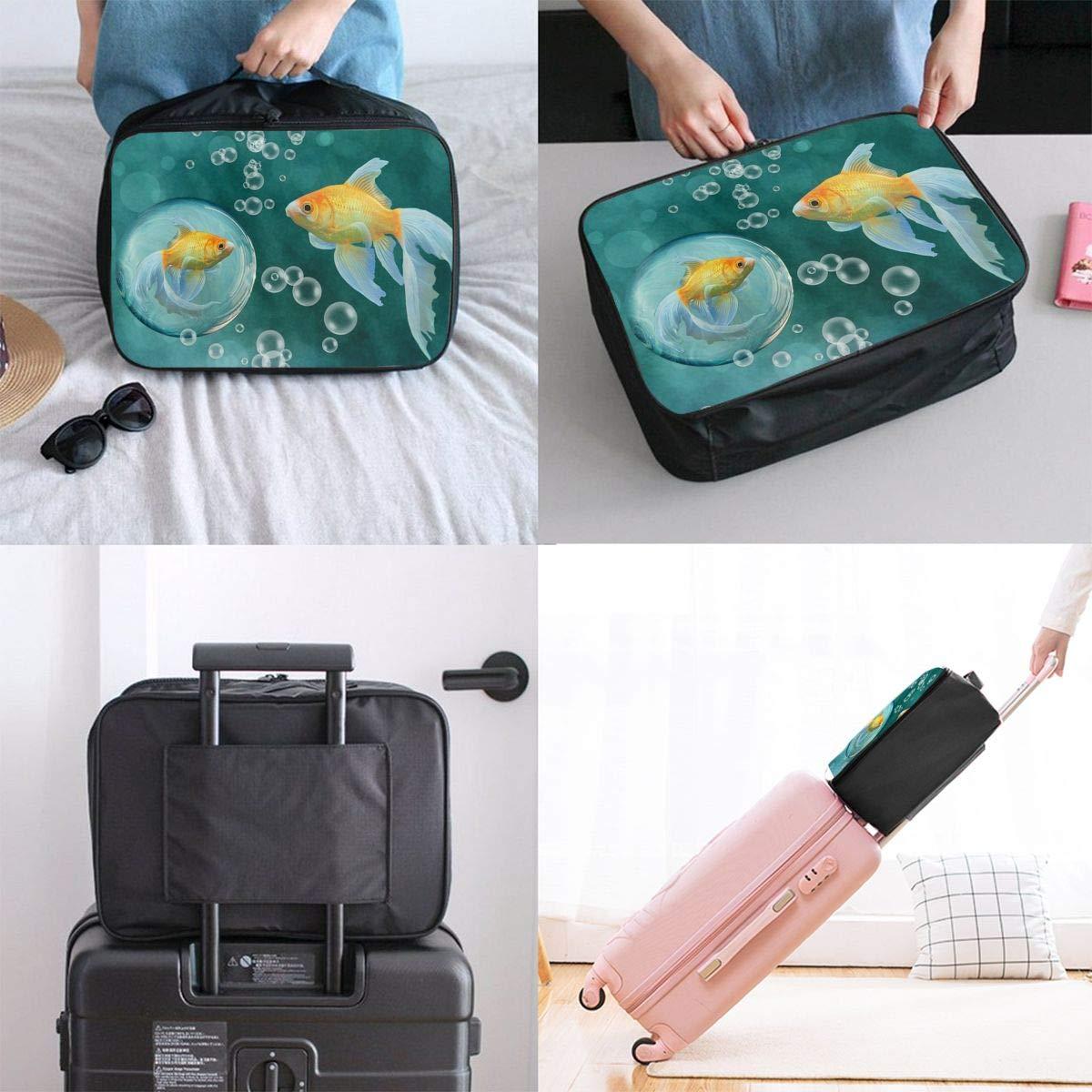 Travel Luggage Duffle Bag Lightweight Portable Handbag Gold Fish Print Large Capacity Waterproof Foldable Storage Tote
