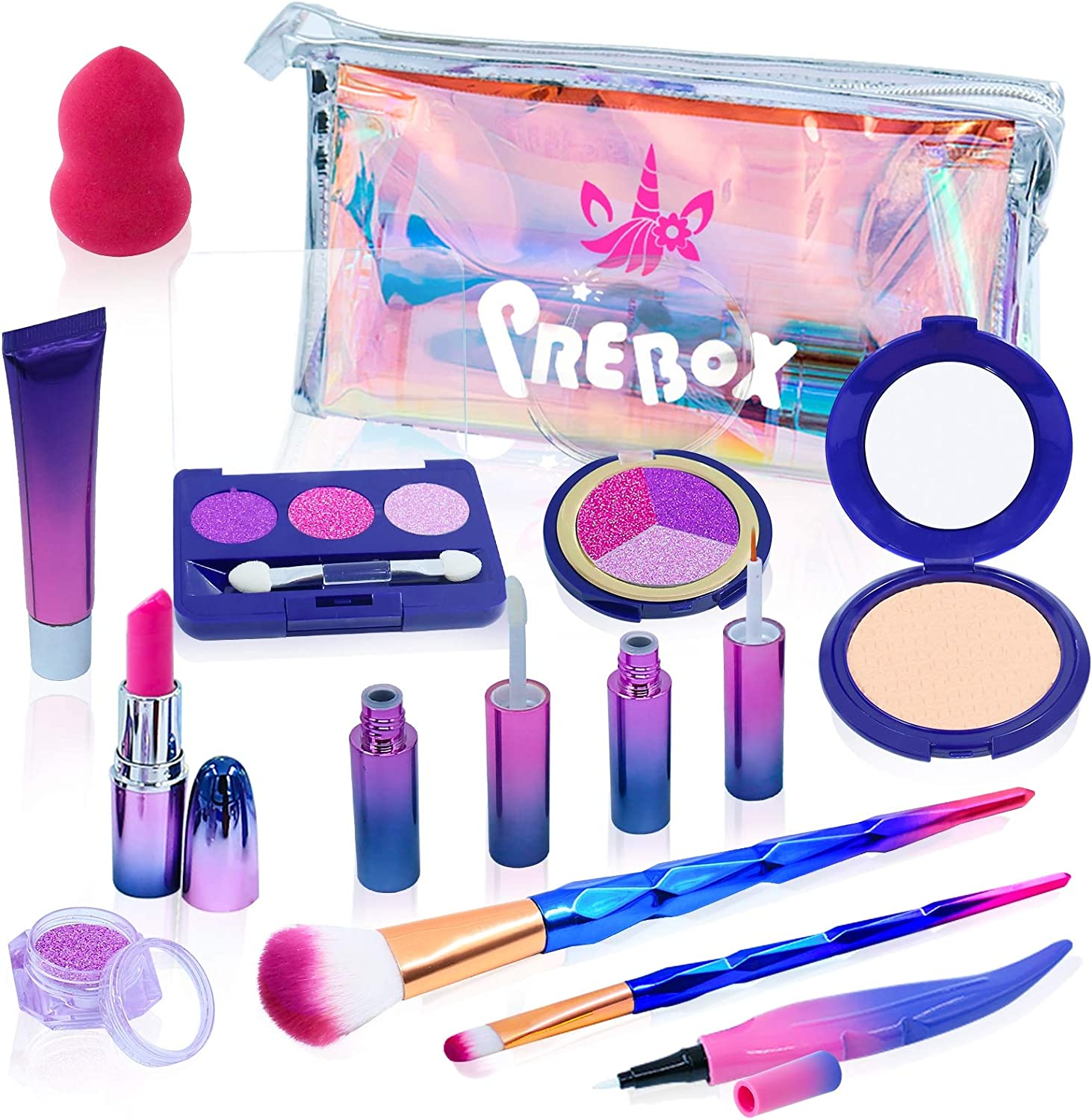 PREBOX Kids Pretend Play Makeup Set for Girls Toddlers Unicorn Collection Toy Make up Kit for Girls Age 2 3 4 5 6 Years Old (Fake but Realistic)