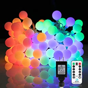 33 Feet 100 Led Globe Ball String Lights, Fairy String Lights Plug in with Remote, Decor for Indoor Outdoor Party Wedding Christmas Tree Garden (Multicolored)