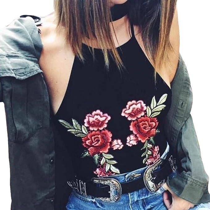 Switchali Blusas para Mujer, Mujer Colgando Bordado Flor Corto Chaleco de Honda Moda Algodón Camisa
