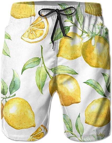 Lemon Mens Surfing Board Shorts Quick Dry Swimming Trunks XXL